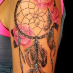 embedded_dreamcatcher_flower_tattoo_