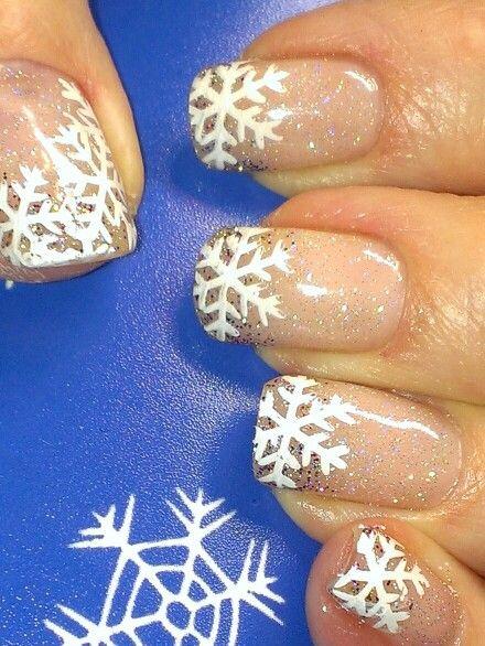 ideas uñas navidad copos de nieve