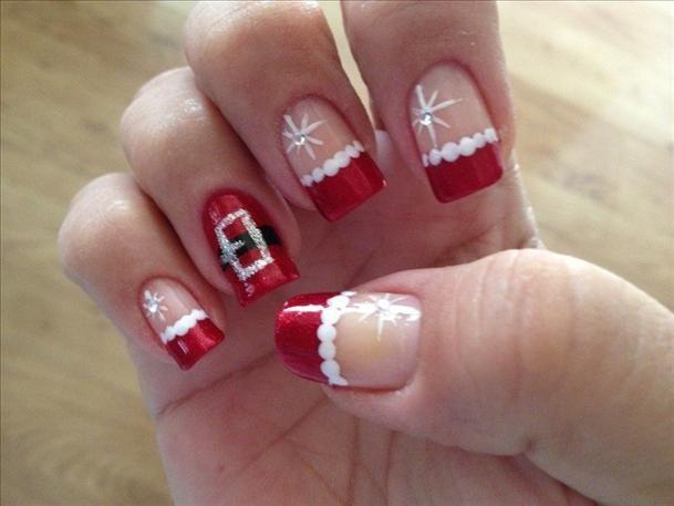 ideas uñas navidad papa noel