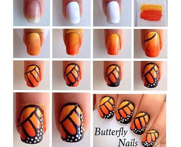 embedded_Monarch_butterfly_nail_art_design