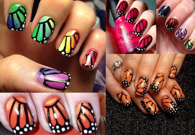 embedded_Monarch_butterfly_wings_nail_art_ideas